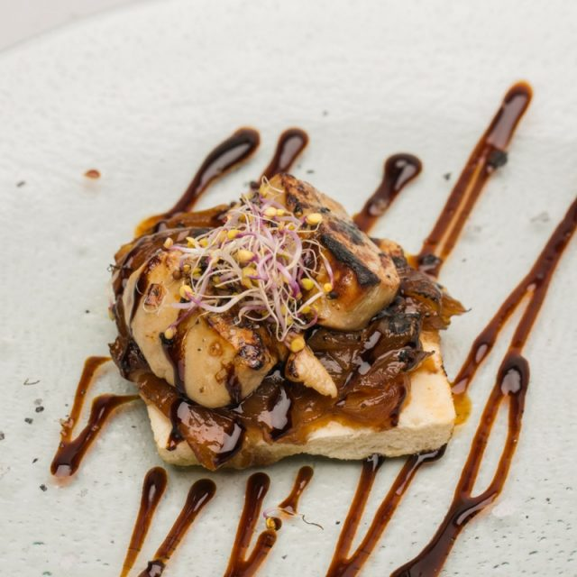 Foie toast with caramelized onions and sherry sauce